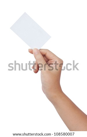 Hand holding a paper business card isolated on white background - stock photo