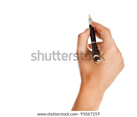 Hand holding a pen isolated over white background - stock photo