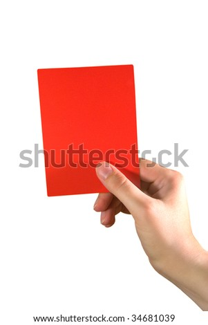 Hand holding a red card (isolated on white) - stock photo