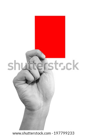 Hand holding a red card isolated on white background  - stock photo