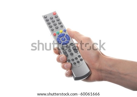 hand holding a remote control isolated on white background - stock photo