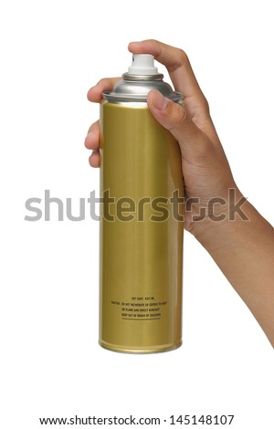 Hand holding a spray can isolated over white background - stock photo