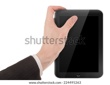 Hand holding a tablet pc computer isolated on white background - stock photo