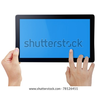 hand holding a touchpad pc - stock photo
