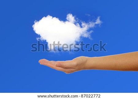 hand holding a white cloud,  concept for cloud computing or eco issue - stock photo