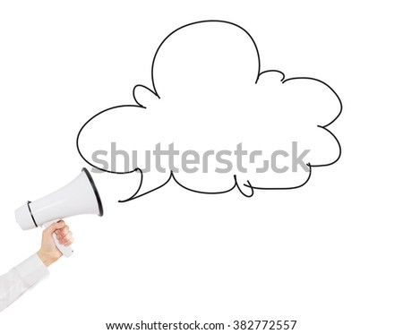 hand holding a white loudspeaker, space for a remark out from it. Side view. White background. Concept of informing - stock photo