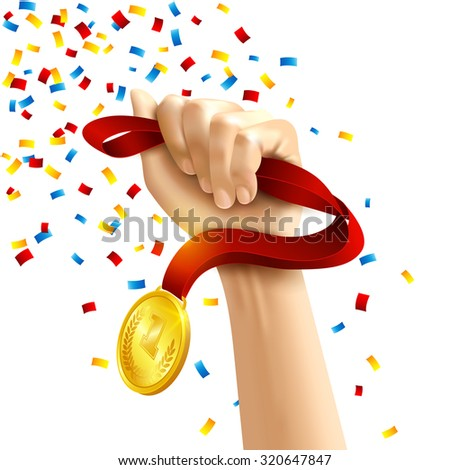 Hand holding a winners medal in multi colored confetti concept  illustration - stock photo