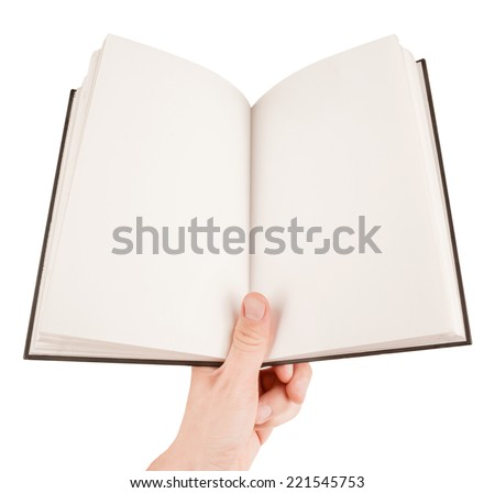 Hand holding an empty notepad or book isolated on white - stock photo