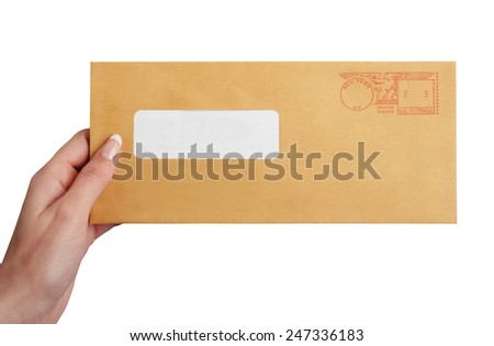 Hand holding an envelope 