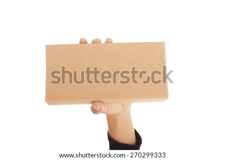 Hand holding an envelope on white background. - stock photo