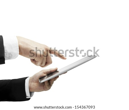 hand holding and pushing tablet on white backgrounds - stock photo