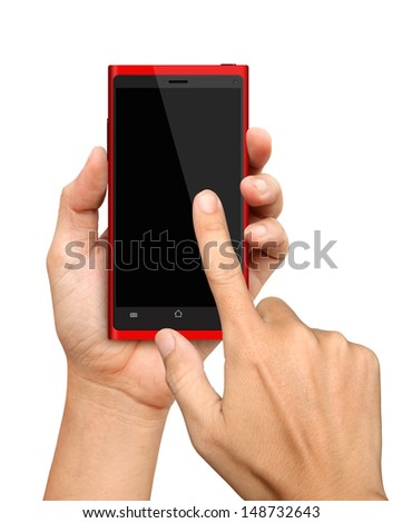 Hand holding and Touch on Red Smartphone on White Background - stock photo