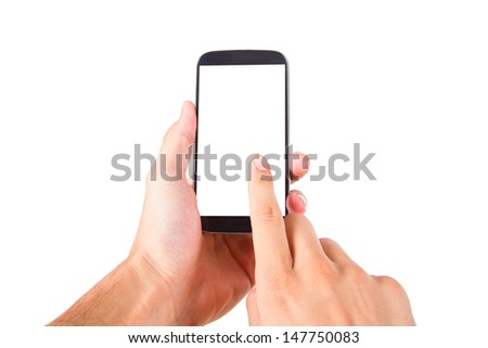 Hand holding and touching smart phone with blank, white screen, front view, isolated on white background. - stock photo
