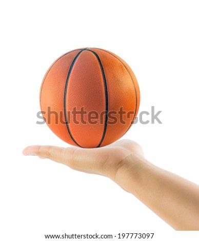 Hand holding basketball or basket ball isolated on over white background - stock photo