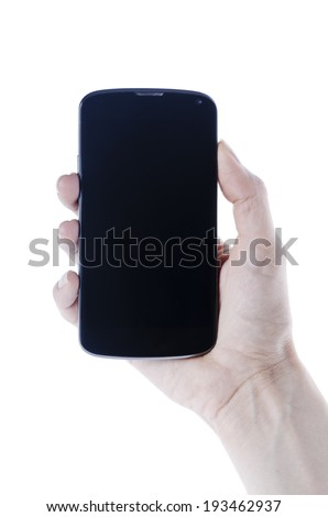 Hand holding black android smart phone isolated on white background - stock photo