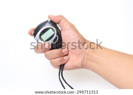 Hand holding Black digital stopwatch isolated on white background - stock photo