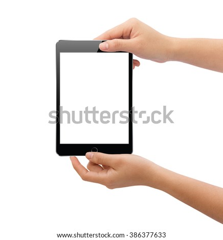 hand holding black tablet similar to ipades isolated on white clipping path inside easy add element - stock photo