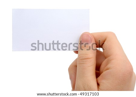 Hand holding blank business card with clipping path - stock photo
