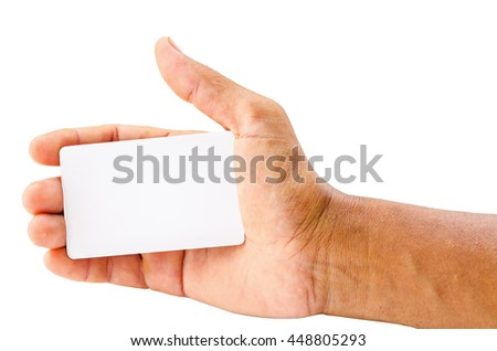 hand holding blank card isolated over white background ready for your text or message. Saved clipping path. - stock photo