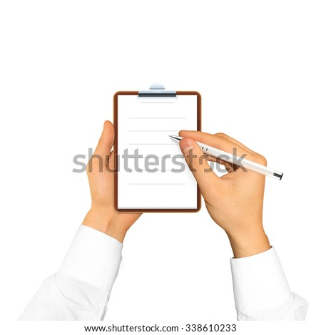 Hand holding blank notebook in the hand. Notepad presentation. Scetchpad hand businessman. Man write down on paper. Taking order. Student shedule block. Jotter lined. Paper sheet writing first person. - stock photo