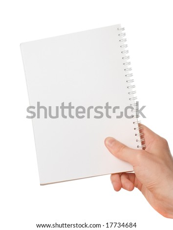 Hand holding blank notepad - stock photo