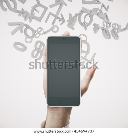 Hand holding blank smartphone with abstract letters on light background. Education concept. Mock up, 3D Rendering - stock photo