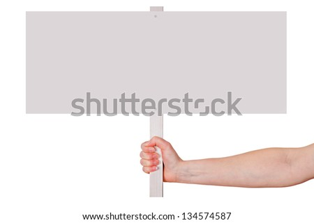 Hand holding blank white sign - stock photo