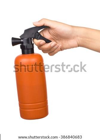 Hand holding bottle plastic model of Fire safety isolated on white background - stock photo