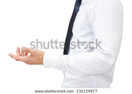Hand holding business on white background - stock photo