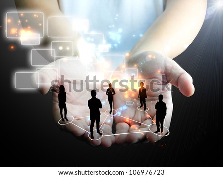 hand holding business team - stock photo