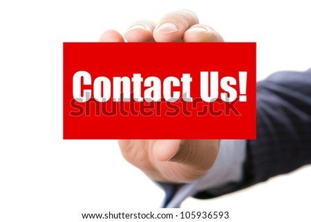 Hand holding card with inscription Contact us, isolated on white background - stock photo
