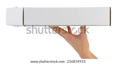 Hand holding cardboard pizza box, isolated on white - stock photo