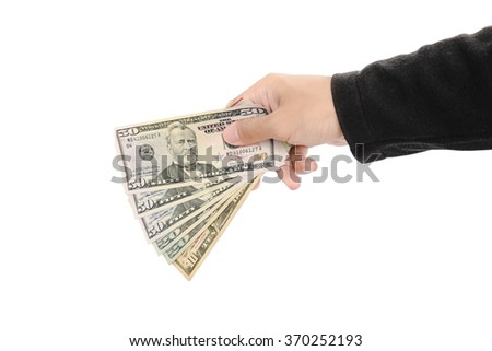 Hand holding cash, isolated on white background - stock photo