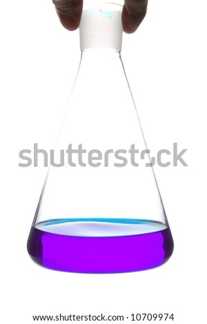 hand holding chemical retort with blue liquid - stock photo