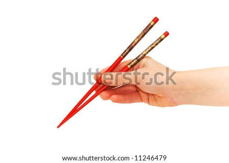 Hand holding chopsticks isolated on the white - stock photo