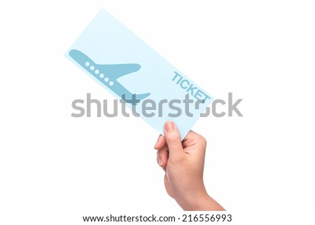 hand holding christmas fly air tickets over white background  - stock photo