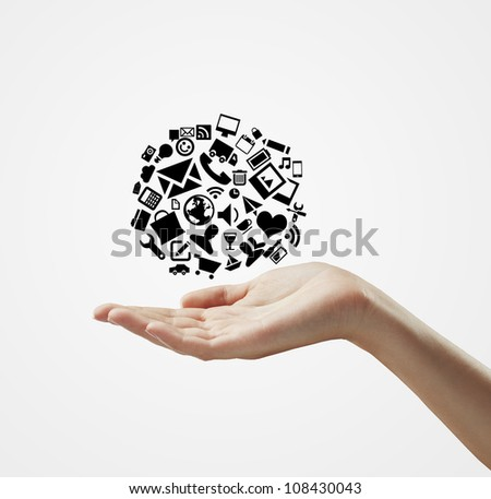 hand holding cloud symbol on a white background - stock photo