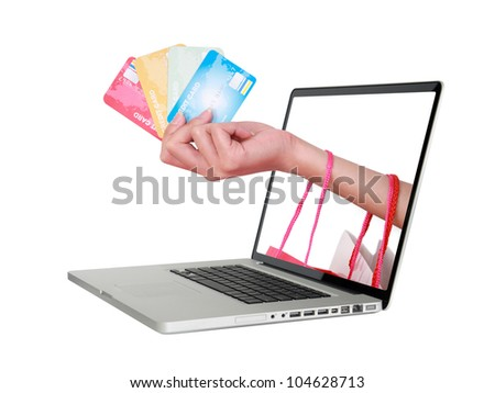 Hand holding credit card and shopping bag. - stock photo