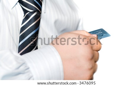 Hand holding credit cards - stock photo