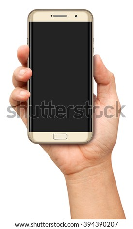 Hand holding Curve Screen Smartphone with blank screen on white background - stock photo
