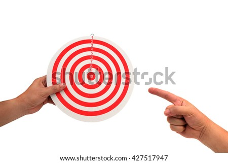 hand holding dart board and  right hand holding isolated on white. - stock photo