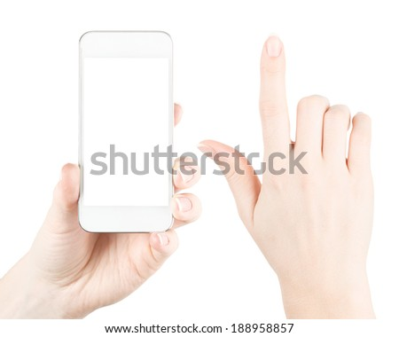 Hand holding device with blank screen. Isolated on white background - stock photo