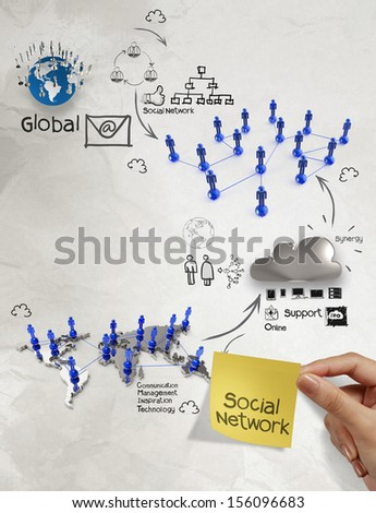 hand holding diagram of social network structure with sticky note as concept - stock photo