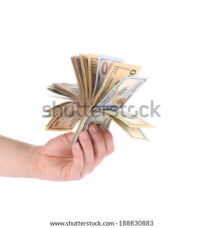 Hand holding dollar bills. Isolated on a white background. - stock photo
