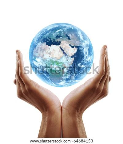hand holding earth - stock photo