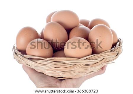 Hand holding Eggs basket isolated on white background - stock photo