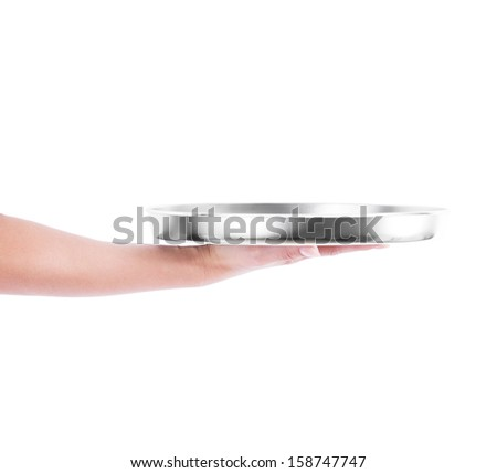 hand holding empty silver metal tray on white background - stock photo