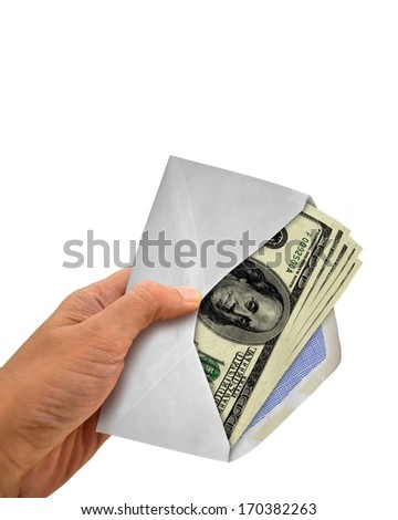 Hand Holding Envelope with Full of Cash - stock photo