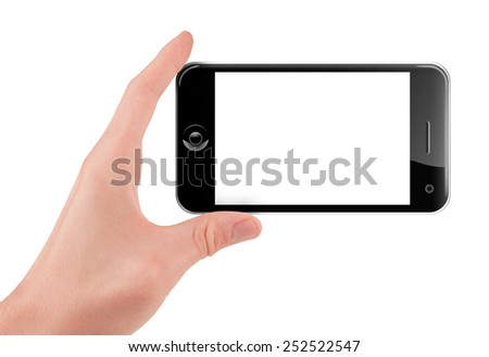 Hand holding (filming or shooting) a smart phone (mobile phone) with blank screen isolated on white - stock photo