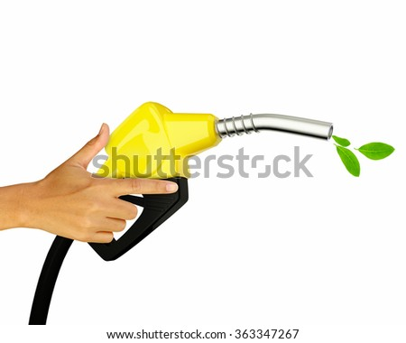 Hand holding Fuel nozzle with green leafs isolated on white background - stock photo